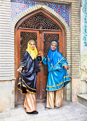 Traditional dress young muslim women