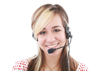Beautiful business woman with headset. Call center. Customer sup