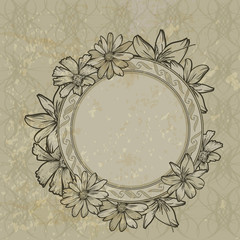 Vintage frame with blooming flowers