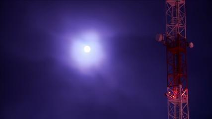 telecommunications tower & magic full moon