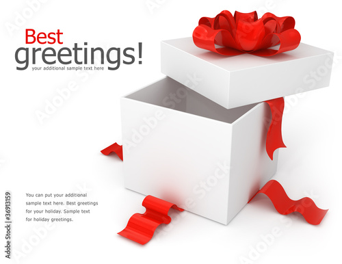opening gift box with red bow isolated on white background