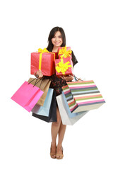 asian Woman with Shopping Bags and Box