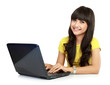 Beautiful smiling woman with laptop