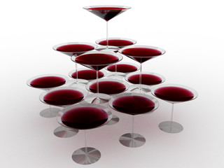 Glass wine glasses with colored liquid №10