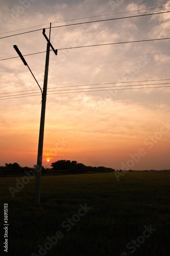 Electrical pole on sunset background
