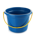 blue bucket isolated over white background