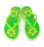 a pair of green beach sandals