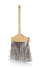 Wooden Broom isolated on white