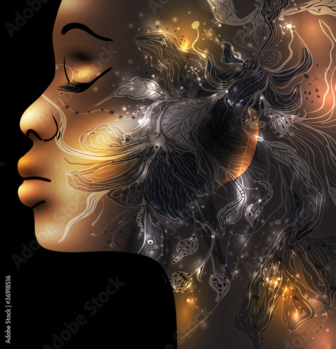 Abstract female face vector