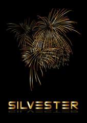 silvester, feuerwerk , gold