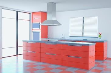 Bright Orange Kitchen