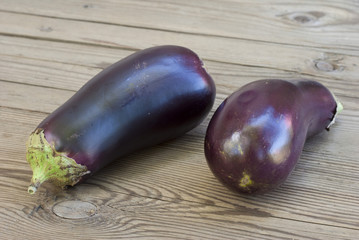 eggplants on table