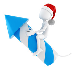 3d man and a rocket - Christmas concept on white background