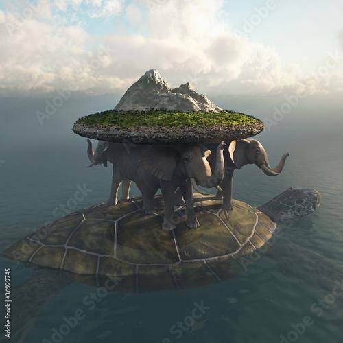 Leinwandbilder,universum,raum,elefant,schildkröte