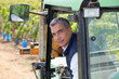 Worker in a forklift