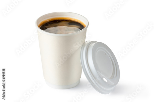 Coffee in opened disposable cup