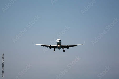 Aeroplane coming into land at Skiathos, Greece
