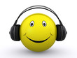 happy smiley with headphones