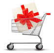 Shopping cart and gift box. Vector illustration.