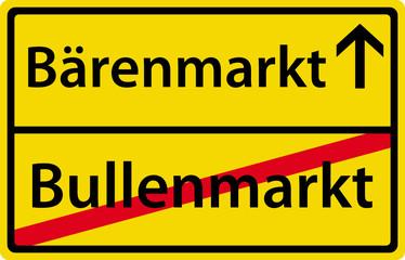 Bärenmarkt - Bullenmarkt - Schild Zeichen Symbol Ortsausgang