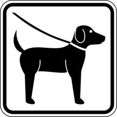 Hund anleinen Leinenpflicht Leinenzwang Schild Zeichen Symbol