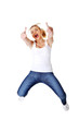 Young happy caucasian woman jumping in the air with thumbs up