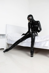 Fetish Black Latex Rubber Catsuit Girl with GasMask