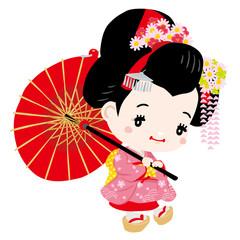 Japanese dancing geisha / geisha girl