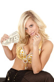 woman greed genie hold money poster