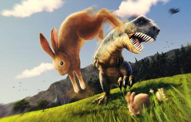 凶暴なティラノサウルスを後ろ蹴りする巨大ウサギ