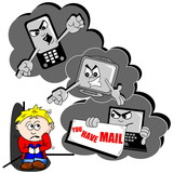 Cyber bullying cartoon with scared child mobile phone and PC poster