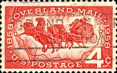 1858. Overland Mail. 1958. US Postage.