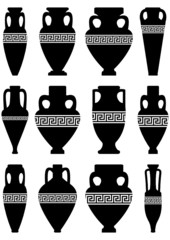 Silhouettes of ancient amphorae and vases