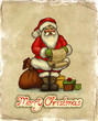 Christmas greeting card with illustration of Santa Claus