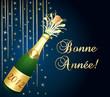 Bonne année 2012 ! Carte de voeux bleue et or.