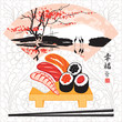 Sushi with watercolor landscape