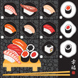 Sushi menu with different varieties