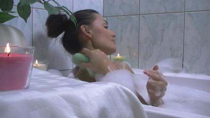 Beautiful Woman washing her body