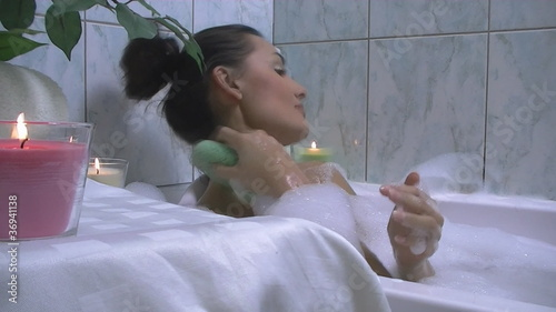 Beautiful Woman washing her body