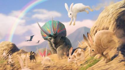 トリケラトプスの前を横切るウサギの群れ