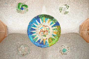 Colorful mosaic at Parc Guell, Barcelona - Spain