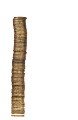 Tall stack of golden coins