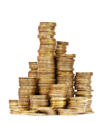 Columns of golden coins