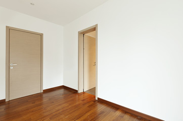new apartment, empty room, entrance door