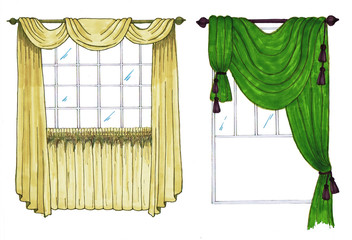 Graphic sketch, drapery, curtain, design markers