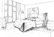 Graphical sketch of an interior bedroom, liner