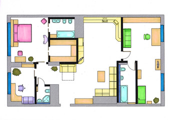 furniture is on architect plan of the flat