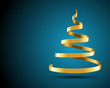 Christmas tree from gold ribbon vector background