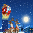 Illustration of Santa Claus on the roof with gifts