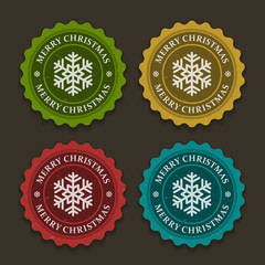 Christmas labels set with snowflake shape vector illustration